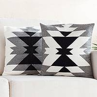 Alpaca blend cushion covers, 'Inca Smoke' (pair) - Geometric Alpaca Blend Cushion Covers from Peru (Pair)