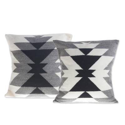 Alpaca blend cushion covers, 'Inca Smoke' (pair) - Geometric Alpaca Blend Cushion Covers from Peru (Pair)