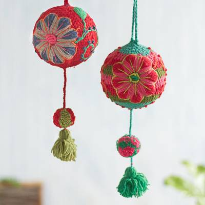 Wool ornaments, 'Joy of Spring' (pair) - Artisan Crafted Floral Wool Ornaments from Peru (Pair)