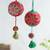 Wool ornaments, 'Joy of Spring' (pair) - Artisan Crafted Floral Wool Ornaments from Peru (Pair) thumbail