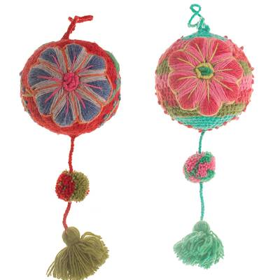 Artisan Crafted Floral Wool Ornaments from Peru (Pair)