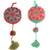Wool ornaments, 'Joy of Spring' (pair) - Artisan Crafted Floral Wool Ornaments from Peru (Pair) (image 2a) thumbail