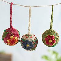 Wool ornaments, 'Floral Ayacucho' (set of 3) - Artisan Crafted Floral Wool Ornaments from Peru (Set of 3)