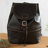 Leather backpack, 'Machu Picchu Journey'