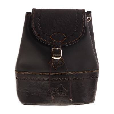 Handcrafted Leather Backpack in Black from Peru