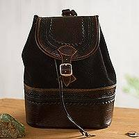 Leather and suede backpack, 'Mountain Journey'