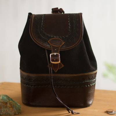 Leather and suede backpack, 'Mountain Journey' - Leather and Suede Backpack Crafted in Peru