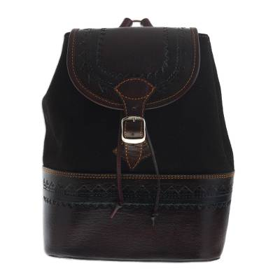 Leather and Suede Backpack Crafted in Peru
