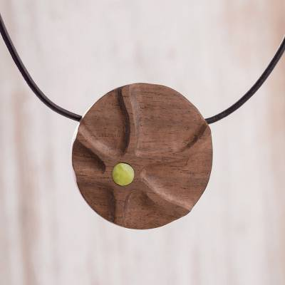 Serpentine and reclaimed wood pendant necklace, 'Kené Art' - Serpentine and Reclaimed Wood Pendant Necklace from Peru