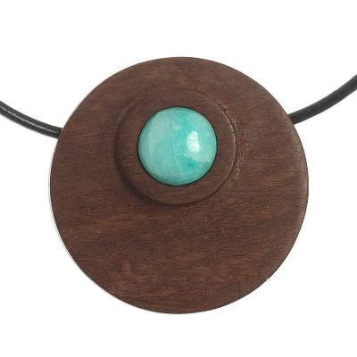 Amazonite and Reclaimed Wood Pendant Necklace from Peru