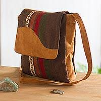 Suede accented wool blend sling, 'Mountain Walker' - Suede Accented Wool Blend Sling from Peru