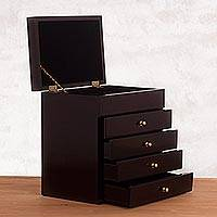 Wood jewelry chest, 'Exquisite Sophistication' - Sophisticated Wood Jewelry Chest from Peru