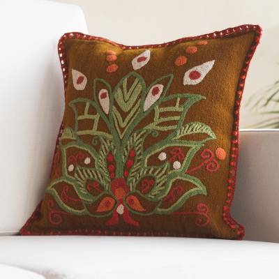 Wool cushion cover, 'Verdant Lotus' - Embroidered Wool Lotus Flower Cushion Cover from Peru