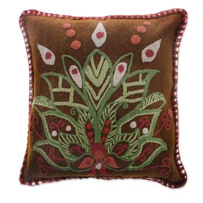 Embroidered Wool Lotus Flower Cushion Cover from Peru