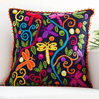 Wool cushion cover, 'Garden of Dragonflies' - Embroidered Wool Dragonfly Cushion Cover from Peru