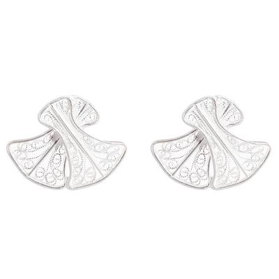 Bell-Shaped Sterling Silver Filigree Button Earrings