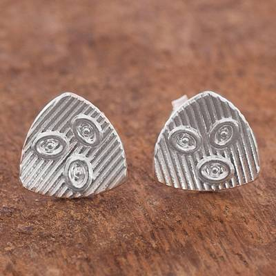 Sterling silver button earrings, 'Abstract Ovals' - Abstract Sterling Silver Button Earrings from Peru