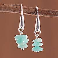 Amazonite dangle earrings, 'Amazonite Royalty' - Amazonite Dangle Earrings Crafted in Peru