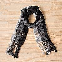 Alpaca blend scarf, 'Fashionable Style' - Hand-Crocheted Alpaca Blend Scarf in Grey and Black