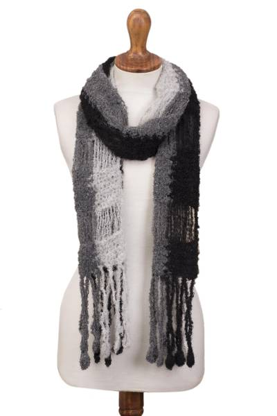 Hand-Crocheted Alpaca Blend Scarf in Grey and Black