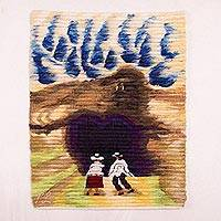 Wool tapestry, 'Day of Friendship' - Handwoven Wool Tapestry of Two Friends from Peru