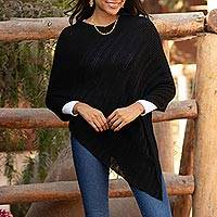 Alpaca blend poncho, 'Black Glam' - Knit Alpaca Blend Poncho in Black from Peru
