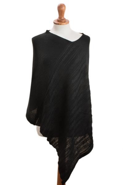 Knit Alpaca Blend Poncho in Black from Peru
