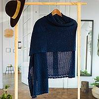 Alpaca blend shawl, 'Andean Delight in Navy' - Knit Alpaca Blend Shawl in Navy from Peru