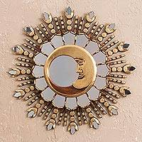 Bronze gilded cedar wood wall mirror, 'Moon Ray Magic' - Sparkling Crescent Moon Bronzed Cedar Wood Wall Mirror