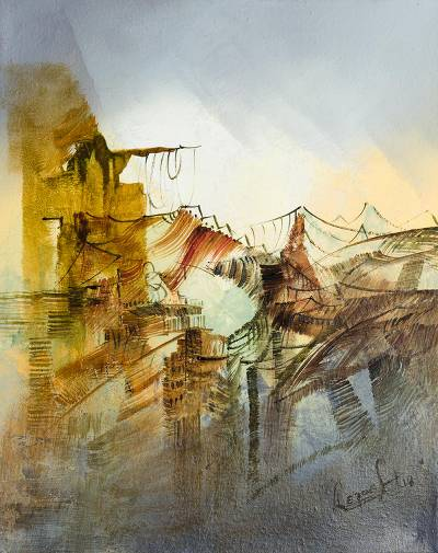 'Urban Forms' - Signed Abstract Painting in Brown from Peru