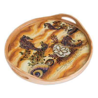 Seahorse and Sea Life Scene Reverse-Painted Glass Tray