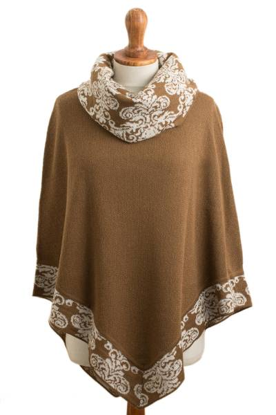 Sepia Brown and Ivory Alpaca Blend Cowl Neck Knit Poncho