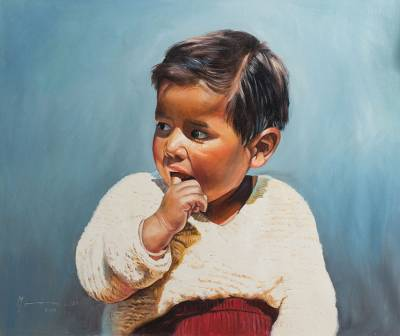 'Child Curiosity' (2017) - Signed Portrait Painting of a Young Child from Peru (2017)