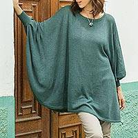 Cotton blend sweater, 'Valley Breeze' - Teal Long-Sleeve Cotton Blend Knit Sweater Poncho from Peru