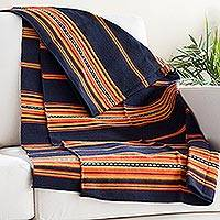 Alpaca blend throw, 'Inca Comfort' - Handwoven Alpaca Blend Throw in Midnight and Sunrise
