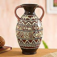 Ceramic decorative vase, 'Inspired Inca' - Inca-Inspired Hand-Painted Ceramic Decorative Vase in Brown