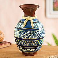 Ceramic decorative vase, 'Inca Sky' - Inca-Inspired Hand-Painted Ceramic Decorative Vase in Blue