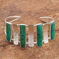 Chrysocolla cuff bracelet, 'Verdant Energy' - Modern Chrysocolla Cuff Bracelet from Peru
