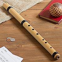 Natural cane flute, 'Andean Tradition' (19.5 inch) - Traditional Flute in Natural Cane from Peru (19.5 in.)