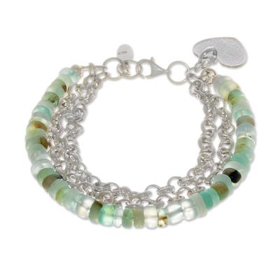 Opal beaded bracelet, 'Elegant Love' - Heart Charm Opal Beaded Bracelet from Peru