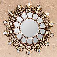 Bronze gilded cedar wood wall mirror, 'King of Light' - Artisan Crafted Bronze Gilded Cedar Wood Wall Mirror