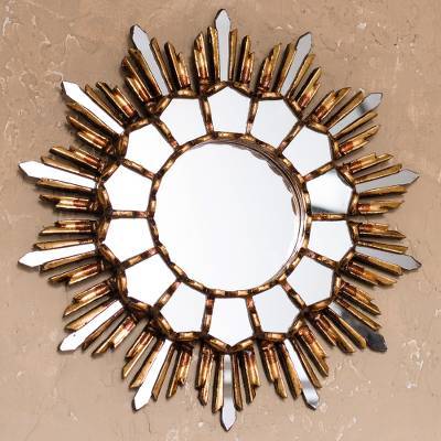 Bronze gilded cedar wood wall mirror, 'Golden Empire' - Handcrafted Bronze Gilded Cedar Wood Wall Mirror from Peru