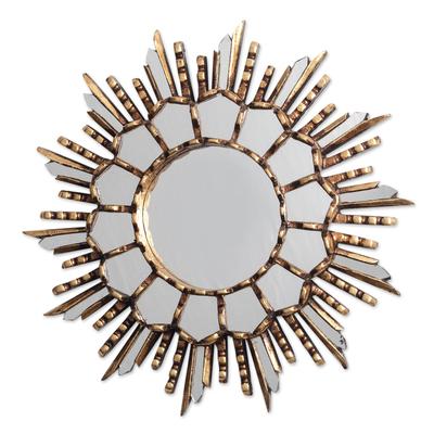 Bronze Gilded Cedar Wood Wall Mirror Crafted in Peru