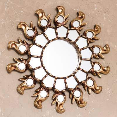 Bronze gilded cedar wood wall mirror, 'Infinite Reflection' - Sun-Themed Bronze Gilded Cedar Wood Wall Mirror from Peru