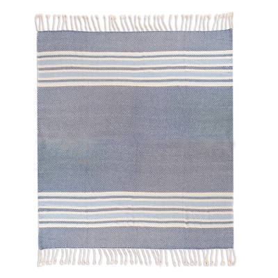 Handwoven Cotton Throw in Cerulean from Peru