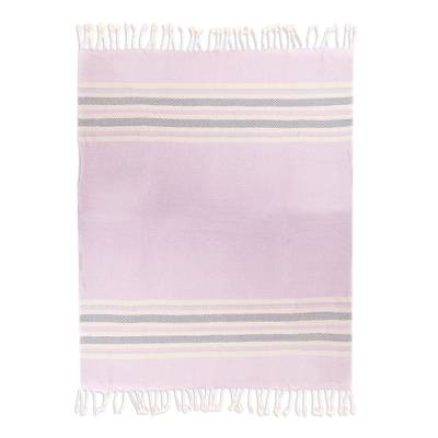 Handwoven Cotton Throw in Heliotrope from Peru