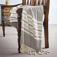 Cotton throw, 'Sweet Smoke' - Handwoven Cotton Throw in Smoke from Peru
