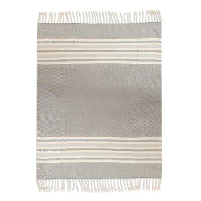 Handwoven Cotton Throw in Smoke from Peru