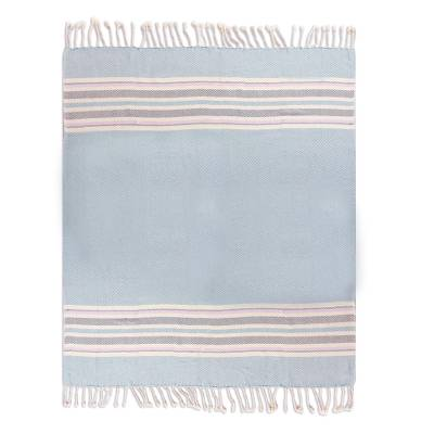 Handwoven Striped Cotton Throw from Peru