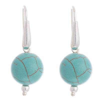 Sterling Silver Recon. Turquoise Dangle Earrings from Peru